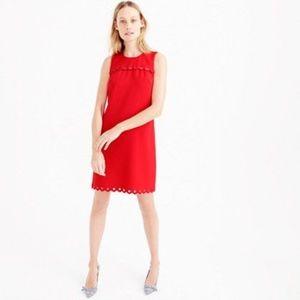 2014f876500 J. Crew Dresses - J. Crew scalloped red grommet shift dress 6  138